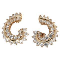 3 Carat Diamonds Yellow Gold Swirl Earrings