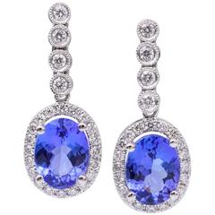 2.60 Carats Oval Shape Tanzanites Diamond White Gold Dangle Earrings