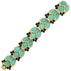 Lapis Turquoise Diamond Gold Bracelet