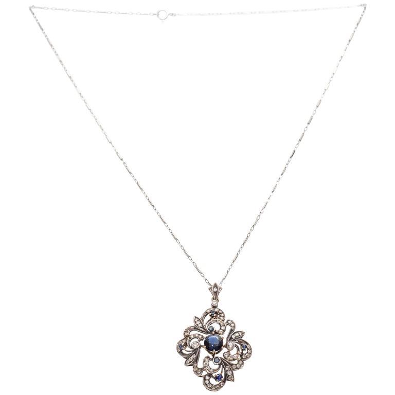 1890s Sapphire Diamond Sterling Silver Yellow Gold Pendant