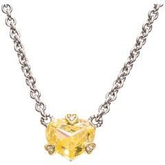 1990s Judith Ripka Topaz Diamond Yellow Gold Necklace