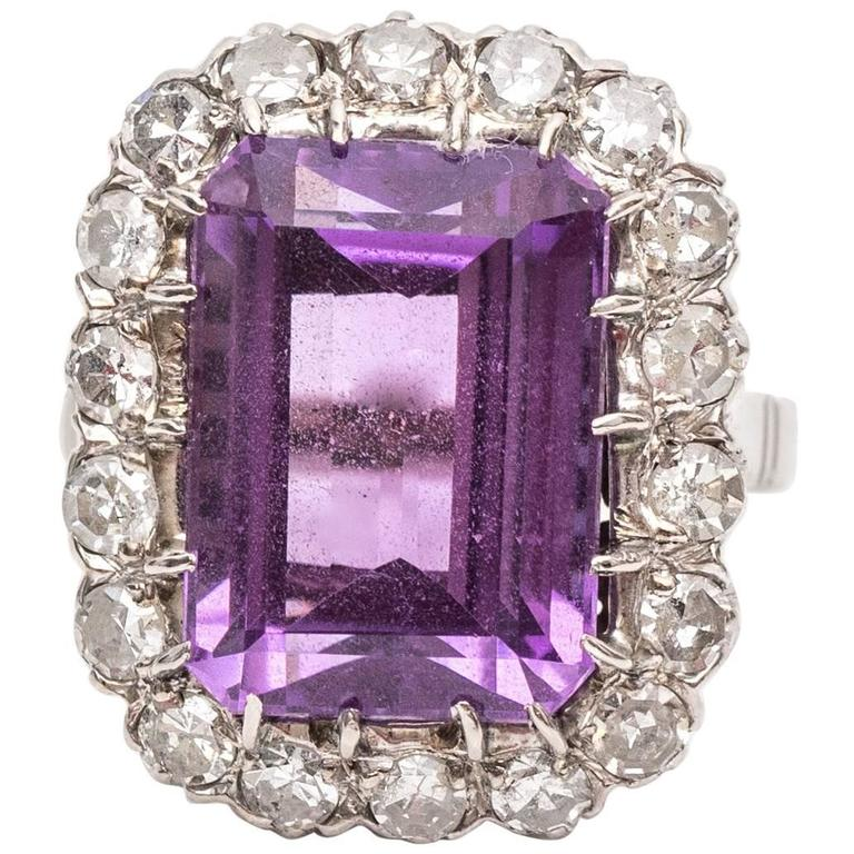 1940s Amethyst Diamond Gold Platinum Cocktail Ring