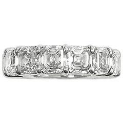 11.22 Carats Asscher Cut Diamonds GIA Platinum Eternity Band Wedding Ring
