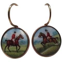 Hand-Painted Enamel Gold Earrings