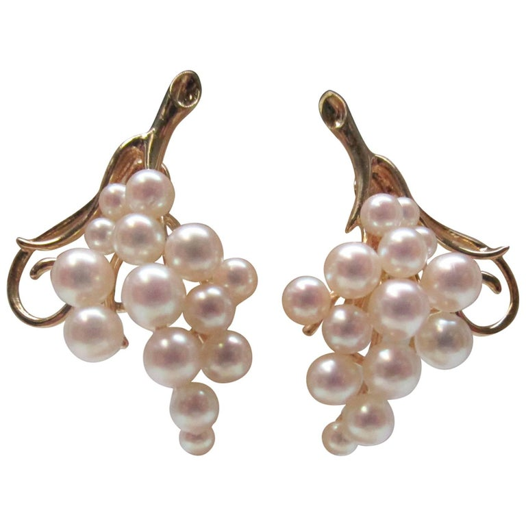 Pearl Gold Clip-On Earrings For Sale