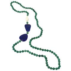 Chrysocolla Freshwater Baroque Pearl Lapis Lazuli Necklace