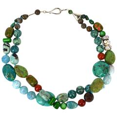 Turquoise Blue Opal Agate Coral Unakite Larimar Silver Necklace