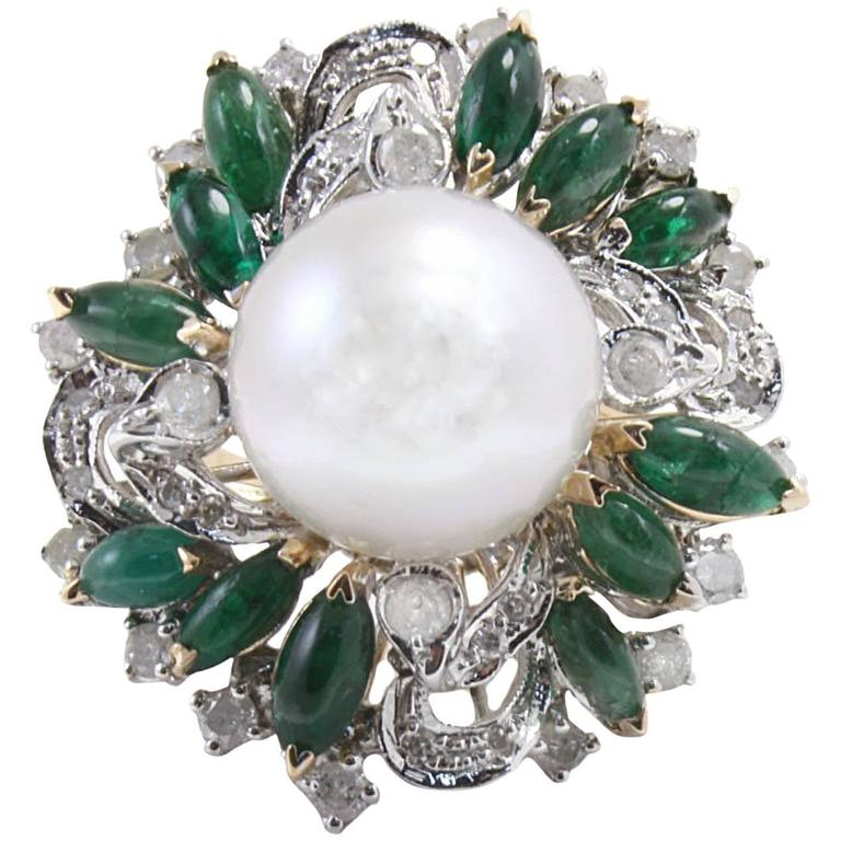 Diamond Emerald Pearl Cluster Gold  Ring