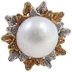 Diamond Pearl Yellow Gold and White Gold Ring