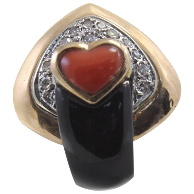 Coral Diamond Onyx Fashion Ring For Sale