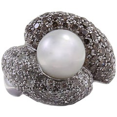 Brown and White Diamond Pearl Ring