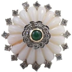 Coral Diamond Emerald Ring