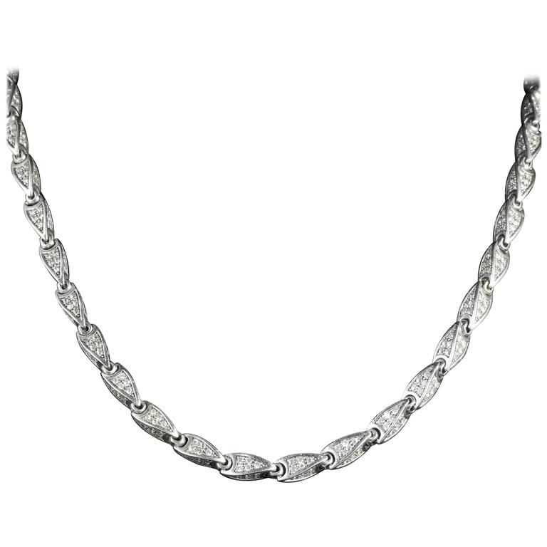 Antique Victorian Paste Sterling Silver Necklace, circa 1880