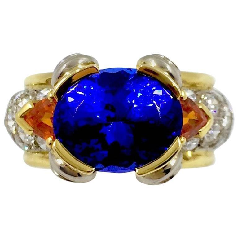 Tanzanite Mandarin Garnet Diamond Gold Ring