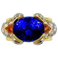 Tanzanite Mandarin Garnet Diamond Gold Ring