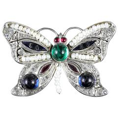 Antique Victorian Paste Silver Butterfly Brooch
