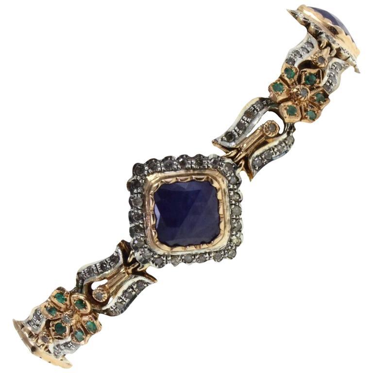 Gold and silver  Diamond Sapphire Emerald Bracelet