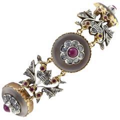 Luise Gold Diamond Ruby Rock Crystal Bracelet