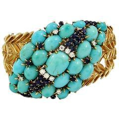 Mid-Century Sapphire Turquoise Diamond Gold Bracelet