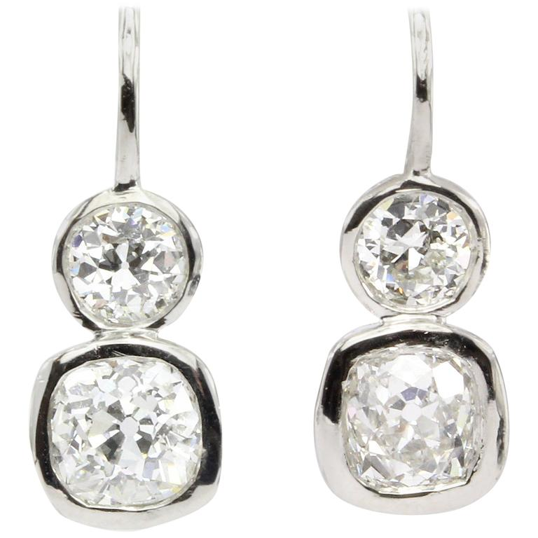 GIA 2.38 Carat Old Mine and Old European Diamond Platinum Earrings 1