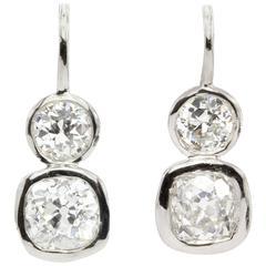 GIA 2.38 Carat Old Mine and Old European Diamond Platinum Earrings