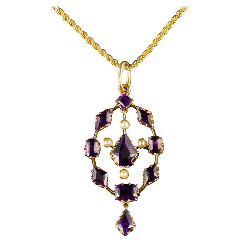 Antique Victorian Amethyst Pendant and Necklace 18 Carat Gold