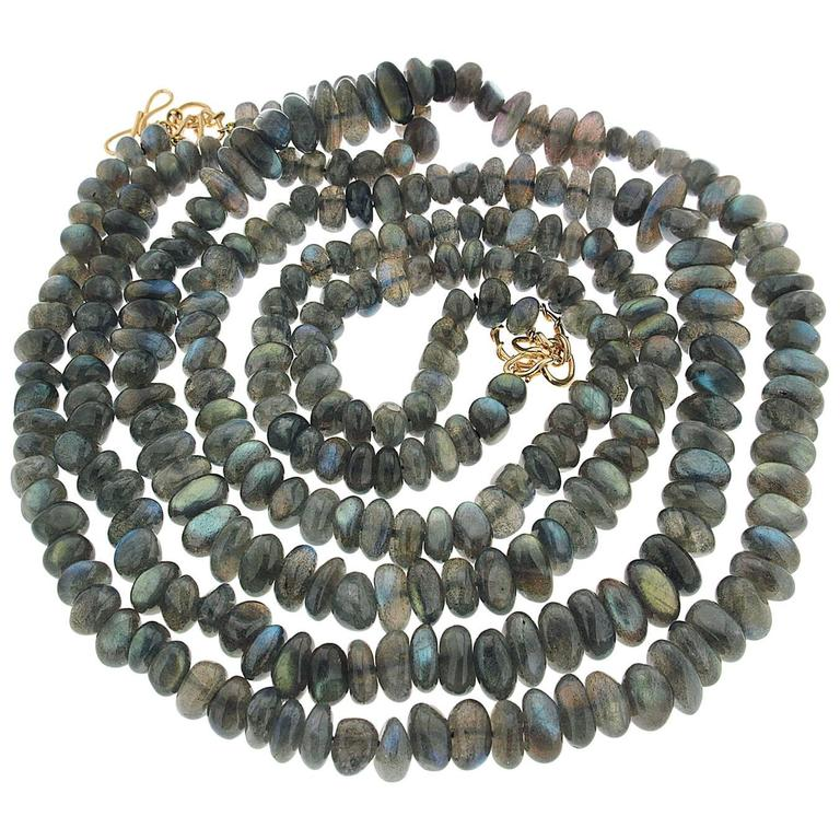 Two Strand Labradorite Necklace For Sale