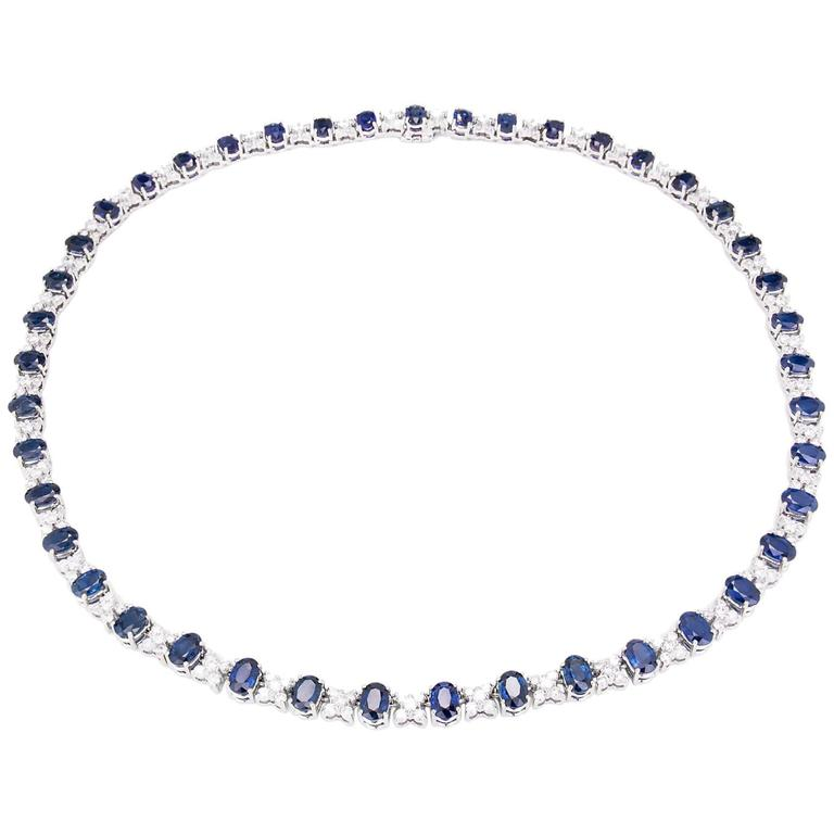 GIA Certified 23.45 Carat Sapphire Diamond Gold Necklace