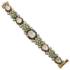 Indian Enamel Diamond Gold Bracelet
