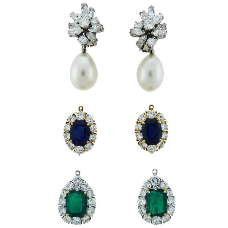 Diamond Pearl Emerald Sapphire Platinum/Gold Interchangeable Drop Earrings