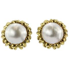 Cartier Mabe Pearl Yellow Gold Clip-On Earrings, circa 1970s