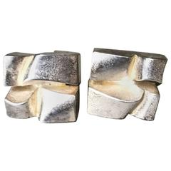 "Lapponia Sterling Silver ""Chunky"" Cufflinks by Bjorn Wekstrom, circa 1974"