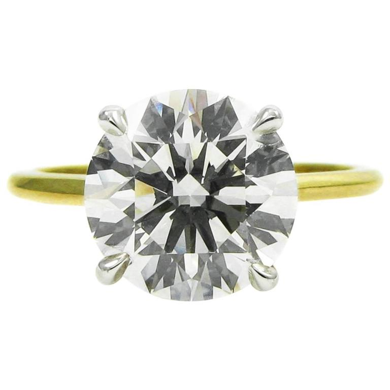 GIA Certified 3.18 Carat Diamond and Yellow Gold Solitaire Engagement Ring 1