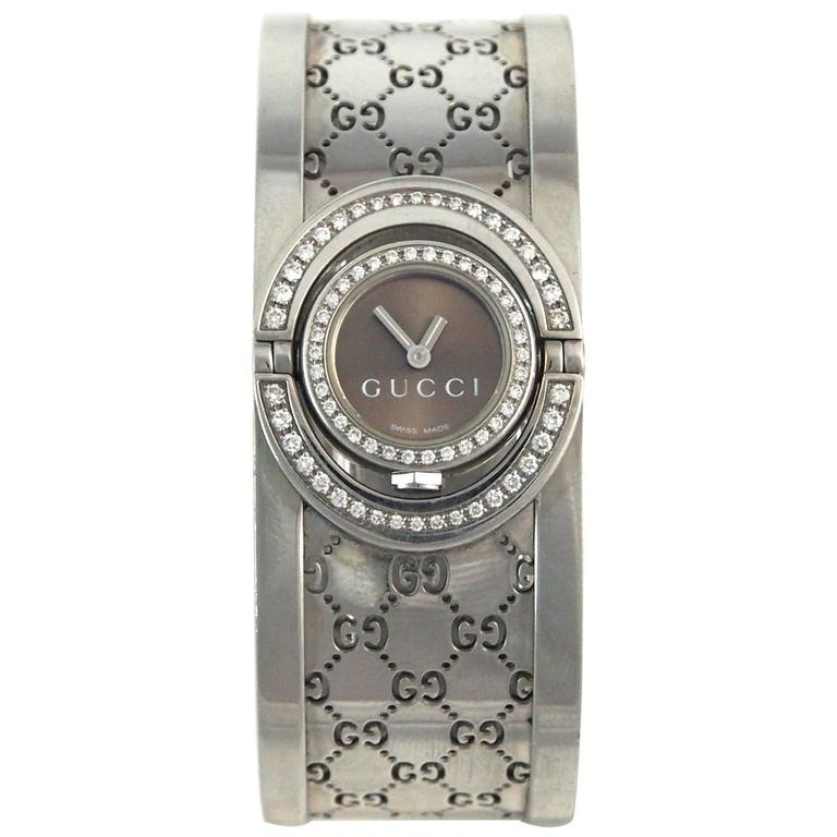 cf785a49562 Gucci Ladies Stainless Steel Diamond Bezel 112 Twirl Cuff with Wristwatch  For Sale