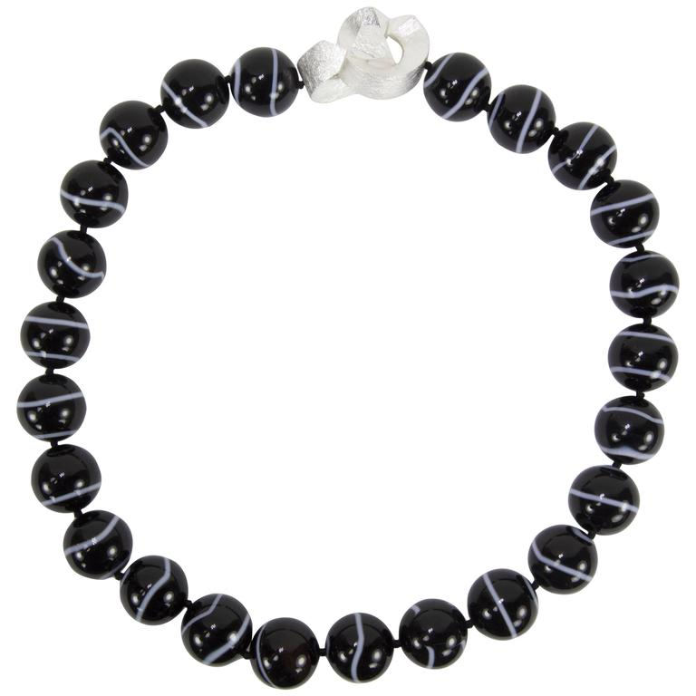 Beautiful Large Black Banded Agate Bead Statement Necklace