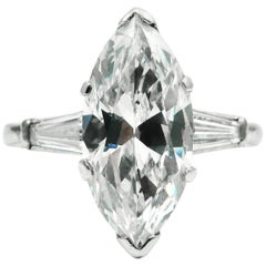 Classic GIA Certified 2.93 Carat Marquise Cut Diamond Platinum Engagement Ring