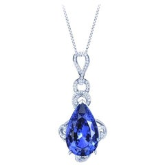 Blue Sapphire Necklace Pear Shape 15.41 Carats GRS Certified Ceylon