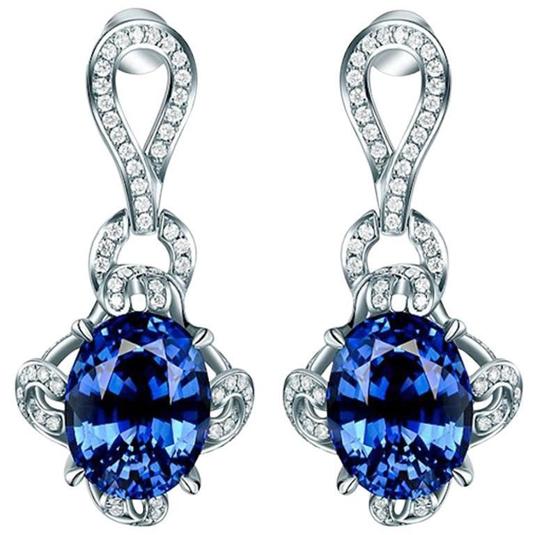 7.34 Carat Oval Sapphire Diamond White Gold Drop Earrings