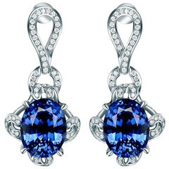 Sapphire Earrings Ovals 7.34 Carats Total