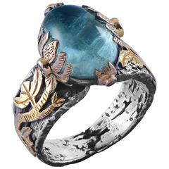 Lia Aquamarine Emerald  Diamond 18 Karat Gold & Silver Ring