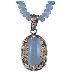 Lia Aquamarine Diamond 18 Karat Gold & Silver Pendant