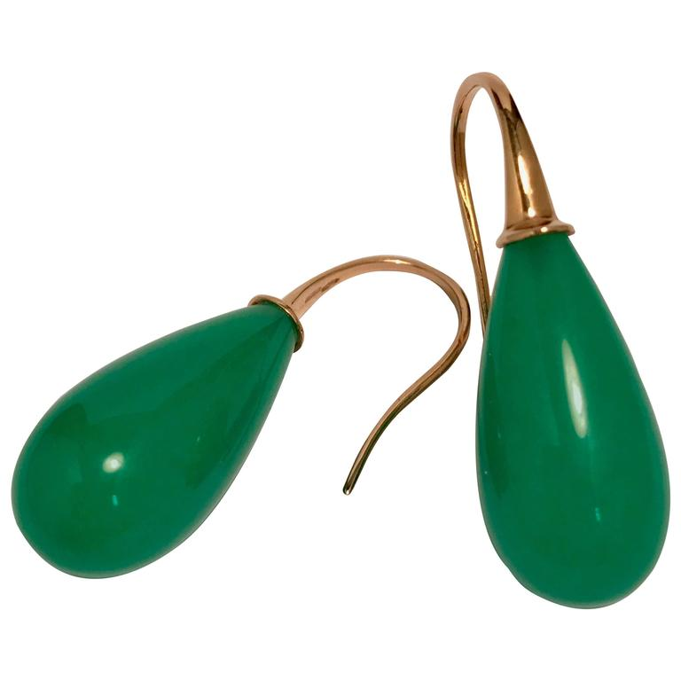 Elegant Yellow Gold And Jade Drop Earrings For