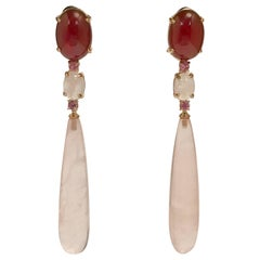 Pink Quartz and Topaz Yellow Gold Chandelier Earrings