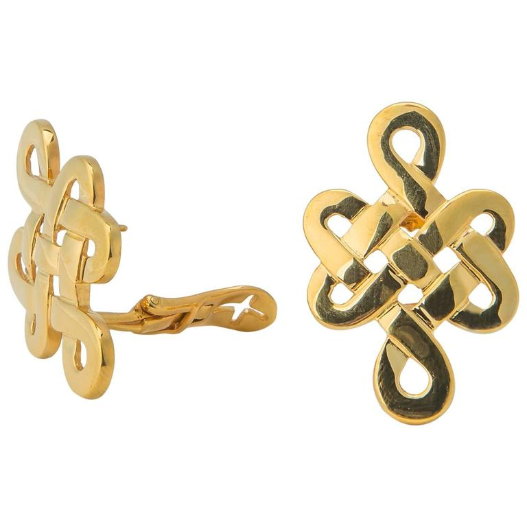Ilias Lalaounis Gold Knot Motif Earrings