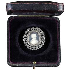 Antique Georgian Paste Stones Sterling Silver Miniature Brooch