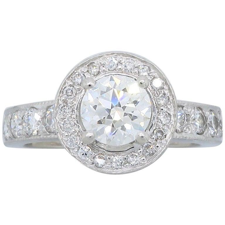 Platinum GIA Certified Diamond Halo Engagement Ring