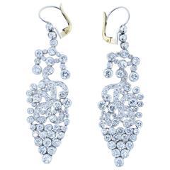 Glamorous Diamond Platinum Drop Earrings