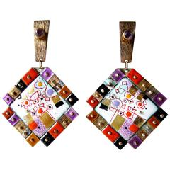 Earl Pardon Enamel Amethyst Sterling Gold Mosaic Earrings