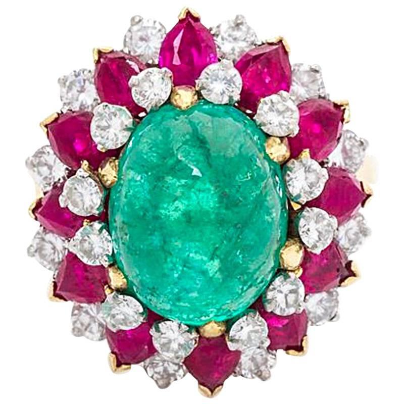 bulgari dolce vita emerald ruby diamond ring