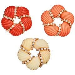 Three Coral and Diamond Brooches